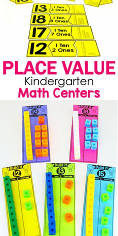 Kindergarten Math: Place Value : Teach place value with in kindergarten with these hands-on math centers! Compose and decompose teen numbers with tens and ones to build number fluency. Kindergarten Math Activities, Numbers Kindergarten, Homeschool Math, Teaching Math, Teaching Teen Numbers, Teaching Spanish, Base Ten Activities, Place Value Activities, Homeschooling