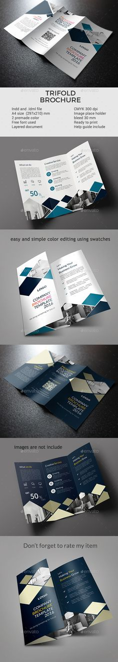 Trifold InDesign Template #a4 #blue • Download ➝ https://graphicriver.net/item/trifold-template-vol-3/17115623?ref=pxcr