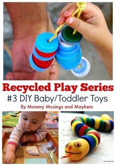 30 easy ideas to make your own baby and toddler toys using recycled materials from around the home. in the Mummy Musings and Mayhem Recycled Play Series! Toddler Play, Baby Play, Toddler Crafts, Recycling For Kids, Diy For Kids, Recycled Toys, Recycled Materials, Infant Activities, Activities For Kids