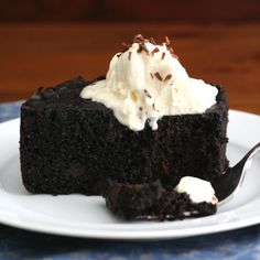 Slow Cooker Chocolate Cake - so unbelievably rich and moist, you may never turn your oven on for cake again!