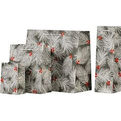 Wispy pine needles and berries pop against a rich slate background. It's our favorite new print. Also available in gift wrap! berri, pines, branch gift, gift bags, slate pine, pine branch, gifts, papers, branches