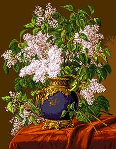 Items similar to Lilac flowers - gobelin tapestry on Etsy Ribbon Embroidery, Cross Stitch Embroidery, Cross Stitch Patterns, Machine Embroidery, Cross Stitch Tutorial, Lilac Flowers, Quilt Stitching, Cross Stitch Flowers, Pattern Art
