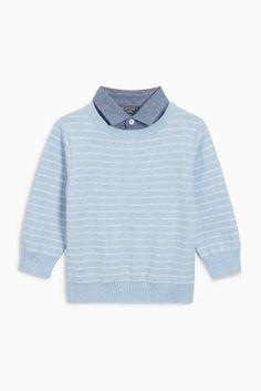 Blue Stripe Mock Shirt (3mths-6yrs)