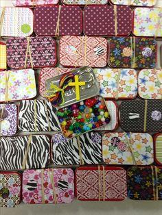 Repurpose empty Altoids tins to make jewelry making bead kits for Operation Christmas Child shoebox gifts.