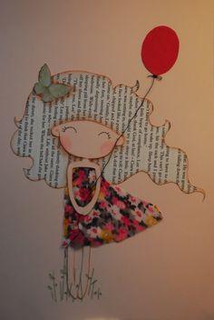 «Fille avec Ballon Rouge» A4 illustration est réalisée avec un bon sentiment. vous vous sentirez le printemps quand vous le verrez LOL. Il est de format A4 (210 x 297 mm ou 8,27 × 11,69 en). le dessin est dessiné avec un crayon, l'encre et colorpencil à la main. Sa chevelure est faite de