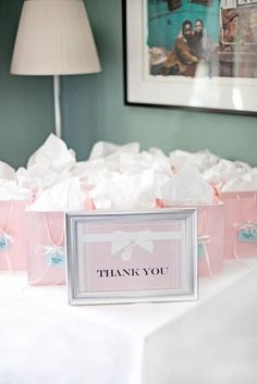 Pretty favors at a Tiffany's baby shower! See more party ideas at CatchMyParty.com! #partyideas #tiffanys