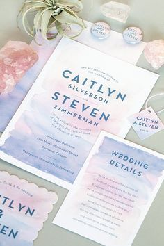 Watercolor Wash Stationery in Rose Quartz and Serenity (Pantone Color of the Year) from www.evermine.com