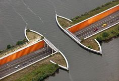 Driving Underwater, Netherland Highway passes under water to create unusual bridge of water.