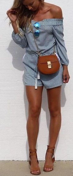 #summer #street #style | Blue Print Playsuit