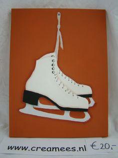 canvas me schaatsen, acrylverf, ontwerp van creamees