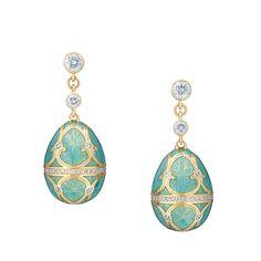 Fabergé Palais Sky Blue Earrings #Fabergé #FabergéEgg #earrings #enamel #diamonds