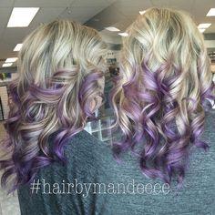 Platinum to Purple #hairbymandeeee #purplehair #purpleombre #balayage #blondehair #foils #behindthechair #modernsalon #cilantrohairspa #handpainting #joico #dimensionalhair
