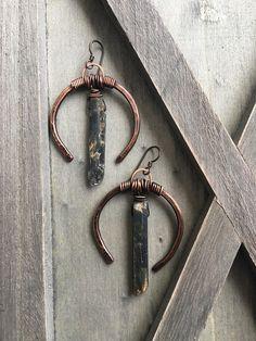 Raw Kyanite Earrings Copper Earrings Tribal Fusion Large