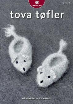 Kit 2 - Tova Musetøfler Booties Crochet, Crochet Baby Booties, Knit Crochet, Crochet Hats, Slipper Socks, Slippers, Felt Shoes, Crochet For Kids, Baby Knitting