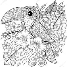 Illustration about Coloring book for adults. Toucan among tropical leaves and flowers. Coloring page for relax and relif. Illustration of graphic, book, design - 119394632 Bird Coloring Pages, Mandala Coloring Pages, Printable Coloring Pages, Coloring Books, Doodle Coloring, Coloring Sheets, Mandala Drawing, Zentangle Patterns, Tropical Leaves