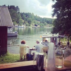 The outdoor bar is just by the water, enjoy the view!