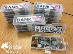 The Bender Bunch: Individual Student Coin Banks - school~math - Education Classroom Hacks, Math Classroom, Future Classroom, Classroom Organization, Classroom Money, Teaching Money, Teaching Math, Teaching Resources, Math Stations