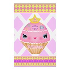 #Kawaii #Princess #Cupcake Girl's Art Poster / Print   #zazzle #jamiecreates1 #gifts #posters #art