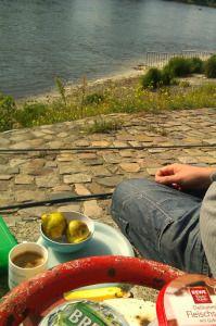 Frühstück an der Elbe in Magdeburg. Reisen im Bulli ist toll!