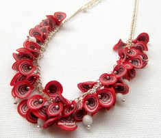 Red Necklace Millefiori Red Flowers Handmade Necklace Statement Necklace Polymer Jewelry Red Jewelry Red White Boho Jewelry Gift For Her