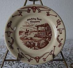 WALLACE CHINA EL RANCHO PLATE HITCHING POST CHEYENNE (6 ¼)