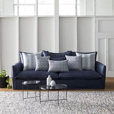 Sticking with the classic look, but still stylish. Sofa Upholstery, Fabric Sofa, Outdoor Fabric, Outdoor Sofa, Navy Couch, Toilet Brushes And Holders, Warwick Fabrics, Textiles, Dream Decor
