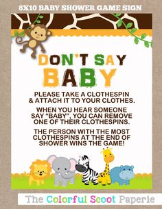 INSTANT DOWNLOAD Jungle Baby Shower Don't Say by TheColorfulScoot                                                                                                                            More