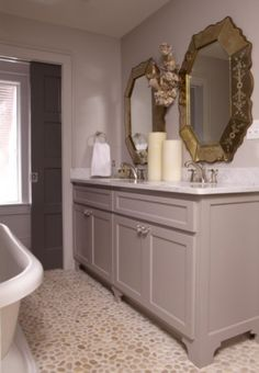Take off the toe kick and add bun feet to an affordable for Bathroom ideas 9x6