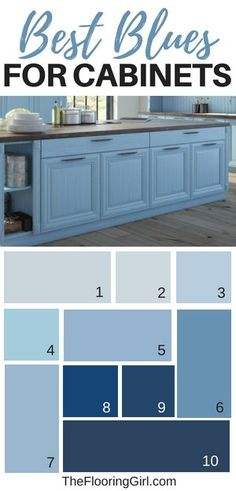 Best shades of blue for kitchen cabinets and bathroom vanities | painting kitchen cabinets blue or navy | #paint #kitchen #cabinets #bathroom #vanity #shade #kitchendesign #kitchenideas #bathroom #bathroomideas
