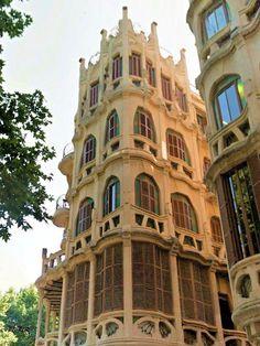Art Nouveau building in the Market Square, Palma de Mallorca, Spain