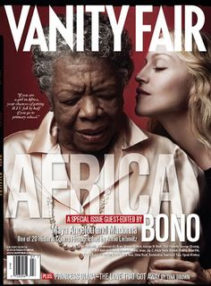 """Vanity Fair by Annie Leibovitz. MAYA ANGELOU  """"The dignity of the African people simply will not be dismissed with 100 years of colonialism and the years of having slavery as the main export,"""" says author, poet, historian, director, performer, and civil-rights activist Dr. Maya Angelou, who in 1996 was named a national ambassador to UNICEF."""