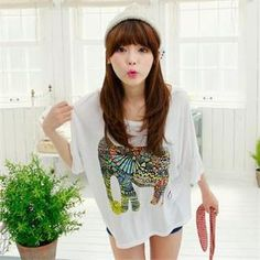 Elbow-Sleeve Elephant Print Top  from #YesStyle <3 Cocopop YesStyle.com