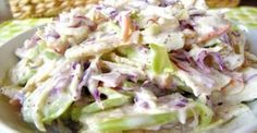This apple coleslaw recipe looks good, but the picture does NOT seem to match the ingredients. Still, the recipe itself might work. Apple Coleslaw, Apple Slaw, Coleslaw Recipes, Paleo Recipes, Cooking Recipes, Paleo Side Dishes, Fast Food, Hungarian Recipes, Soup And Salad