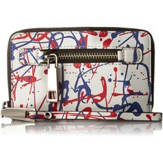 Marc Jacobs Splatter Paint Slgs Zip Phone Wristlet ($217) ❤ liked on Polyvore featuring accessories, tech accessories, leather wristlet, marc jacobs, zipper wristlet, marc jacobs wristlet and zip wristlet
