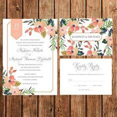 Wedding Invitations, Floral, Bohemian, Vintage, Rustic, Coral, Blush, Peach, Gold, RSVP, Printable, Customizable:
