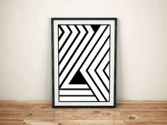 Black and White Geometric Art Print Minimalist by HamptyDamptyArt