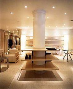 Retail Interior Design, This shop has the style and panache of residential design. Retail Interior Design, Commercial Interior Design, Commercial Interiors, Columns Decor, Shoe Store Design, Column Design, Healthcare Design, Retail Space, Shop Interiors
