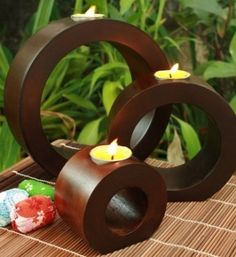 Mango wood loop tea light candle holders