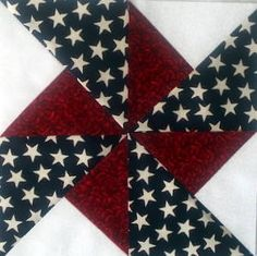 The Turnstile Quilt Block--love the fabric combination. Would make a great table runner for July 4th.