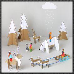 Papercraft for Kids - Peg dolls Winter Wonderland Free Template Download