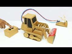 How To Make Remote Control Hydraulic Bulldozer From Cardboard - YouTube