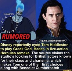 Picture memes 3 comments — iFunny - (r Oigllhis. fidelityo Disney repOrtedly eyed Tom Hiddleston to play Greek God, Hades' ( - Marvel Jokes, Loki Marvel, Avengers, Hades Disney, Disney Hercules, Disney Channel Descendants, Greek Memes, Disney Fun Facts, Tom Hiddleston Loki