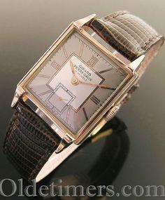 An 18ct rose gold square vintage Girard Perregaux watch, 1940s