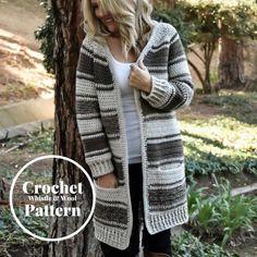 Fabulous Crochet a Little Black Crochet Dress Ideas. Georgeous Crochet a Little Black Crochet Dress Ideas. Crochet Cardigan Pattern, Crochet Shawl, Knit Crochet, Crochet Patterns, Crochet Sweaters, Sweater Patterns, Crochet Winter, Tunisian Crochet, Jacket Pattern