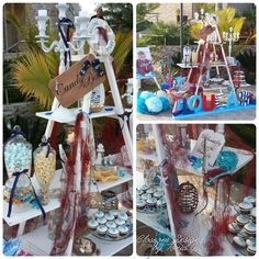 Baby boy christening , ladder candy bar, cup cakes, christening decoration, nautical themed christening. Find us on facebook at Blossom designs - aletonia gardens .