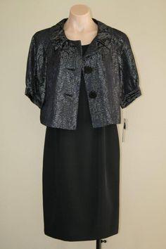 $240 NWT NINE WEST Black Metallic 2pc Suit Swing Jacket and Sheath Dress sz 8 #NineWest #DressSuit