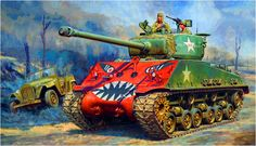"Sherman ""Rice's Red Devils"" tank in Korea, Korean War Transport Pictures, Cool Tanks, Awesome Tanks, Military Drawings, Ww2 Pictures, Sherman Tank, War Thunder, Ww2 History, Armored Fighting Vehicle"