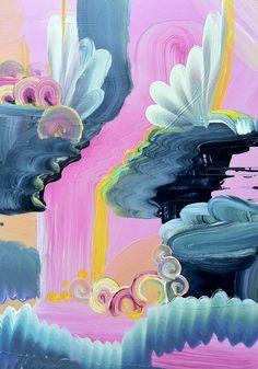 "Saatchi Online Artist: April Zanne Johnson; Acrylic, 2012, Painting ""Pink Floating World 1"""