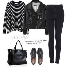 Black leather jacket, oxfords, tote