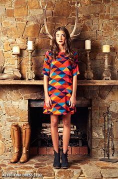 Mister Zimi- aztec tina dress  block colors   $130